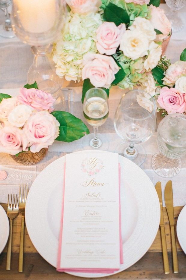 monogram wedding menu