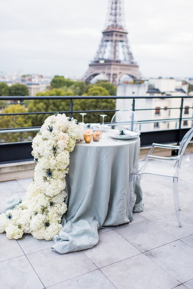 private balcony dinner for the bride and groom