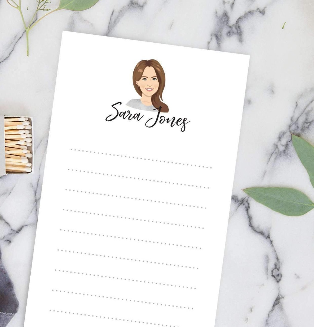 These fun personalized notepads feature a portrait illustration with name below, and makes the PERFECT gift for any stationery lover