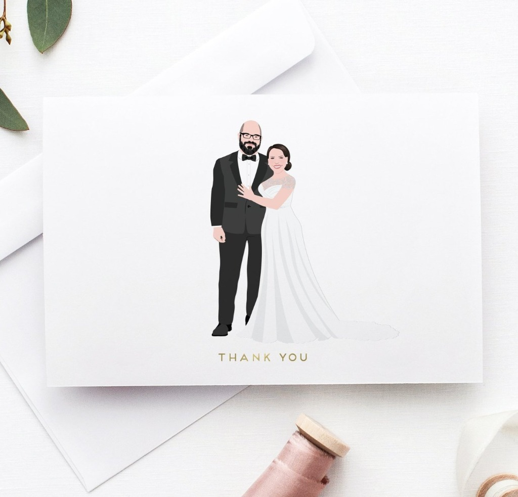 Custom portrait thank you cards that will send thanks and love to your wedding guests with a more personal touch!