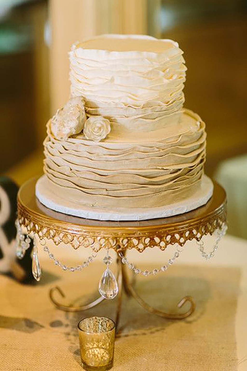 Vintage Ombre Ruffled Wedding Cake on Chandelier Cake Stand