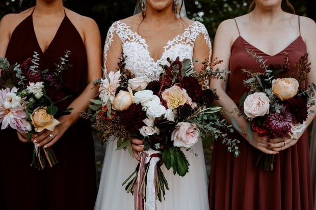 deep red wedding party style