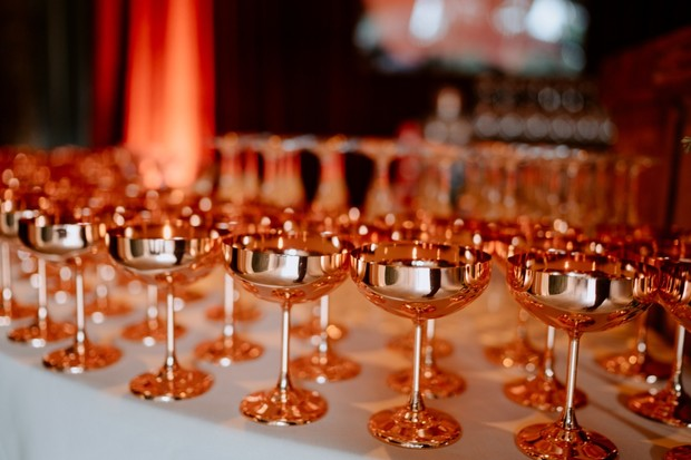 copper stemmed glasses