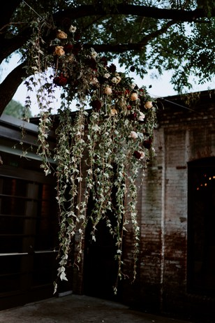 cascading wedding flower backdrop