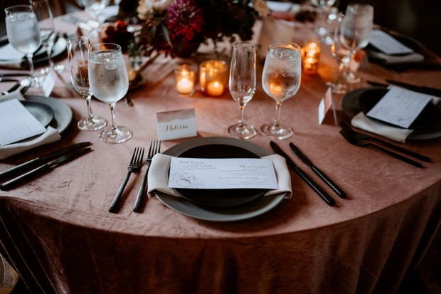 black white and dusty rose place setting