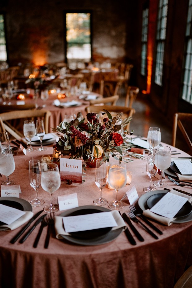 Red Wine Copper and Gold Fall Wedding