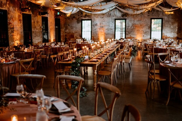 romantic rustic industrial wedding reception