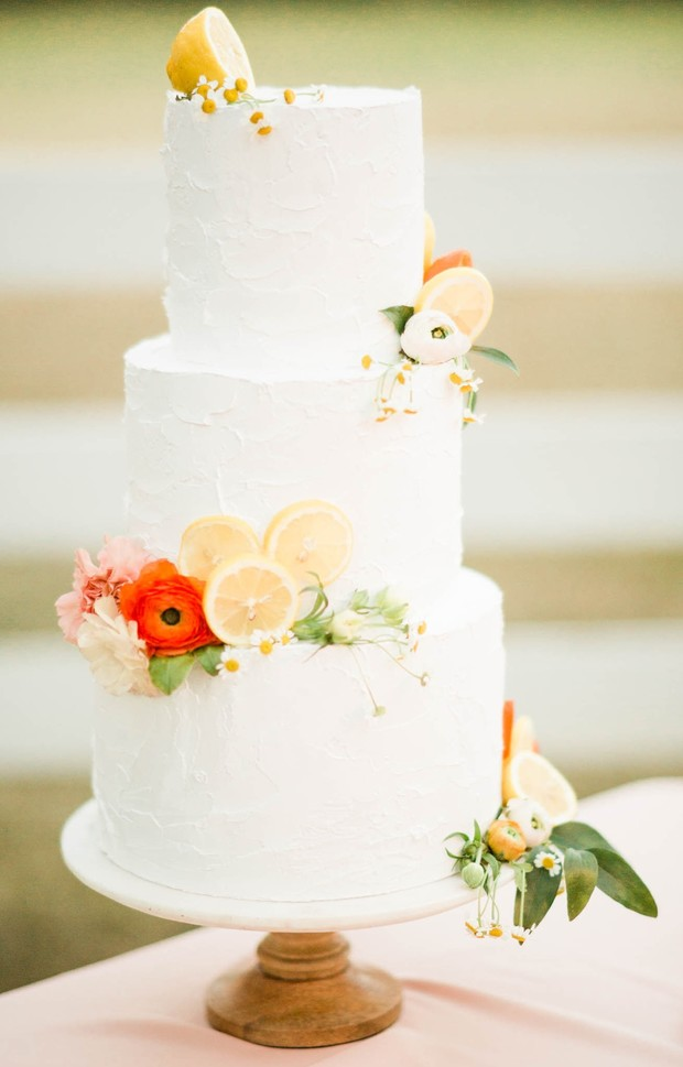 white wedding cake for spring