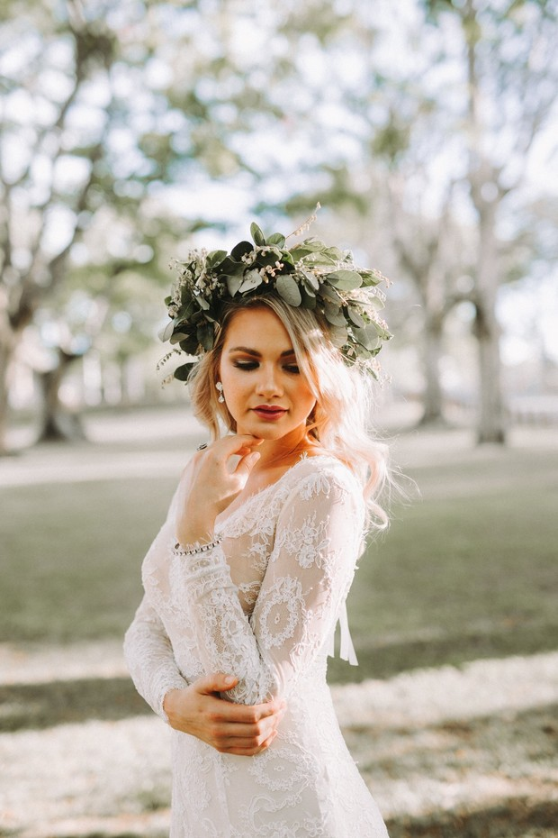 bride with greenery halo
