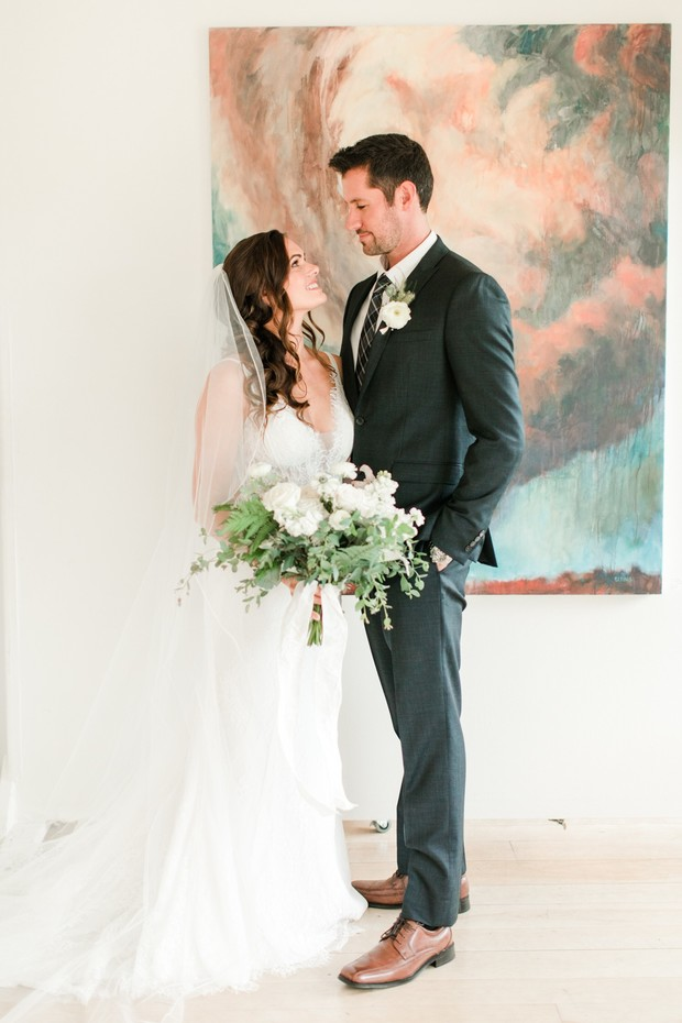 wedding couple at an art gallery ceremony