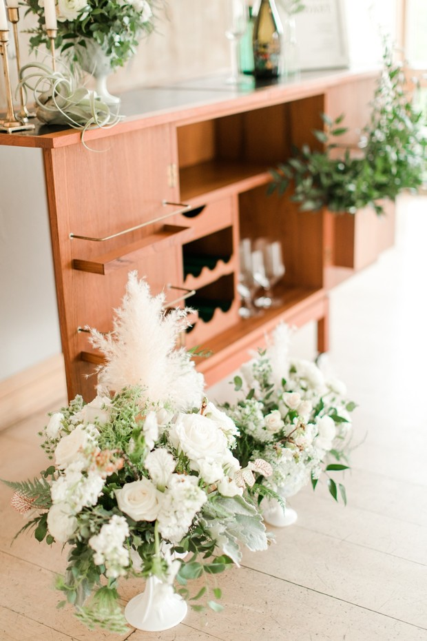 floral accented wedding bar