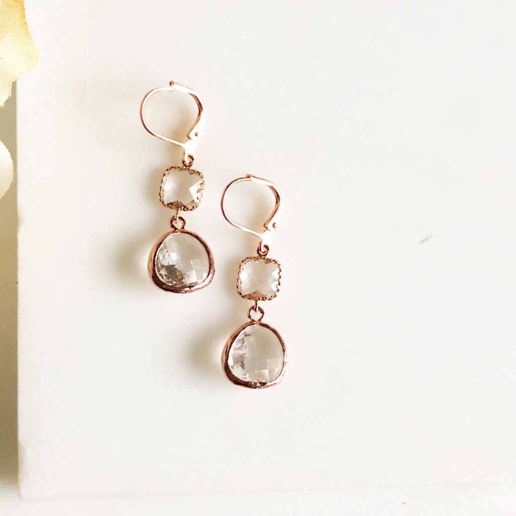 Clear rose gold drop earrings. Message us for bulk bridal orders!