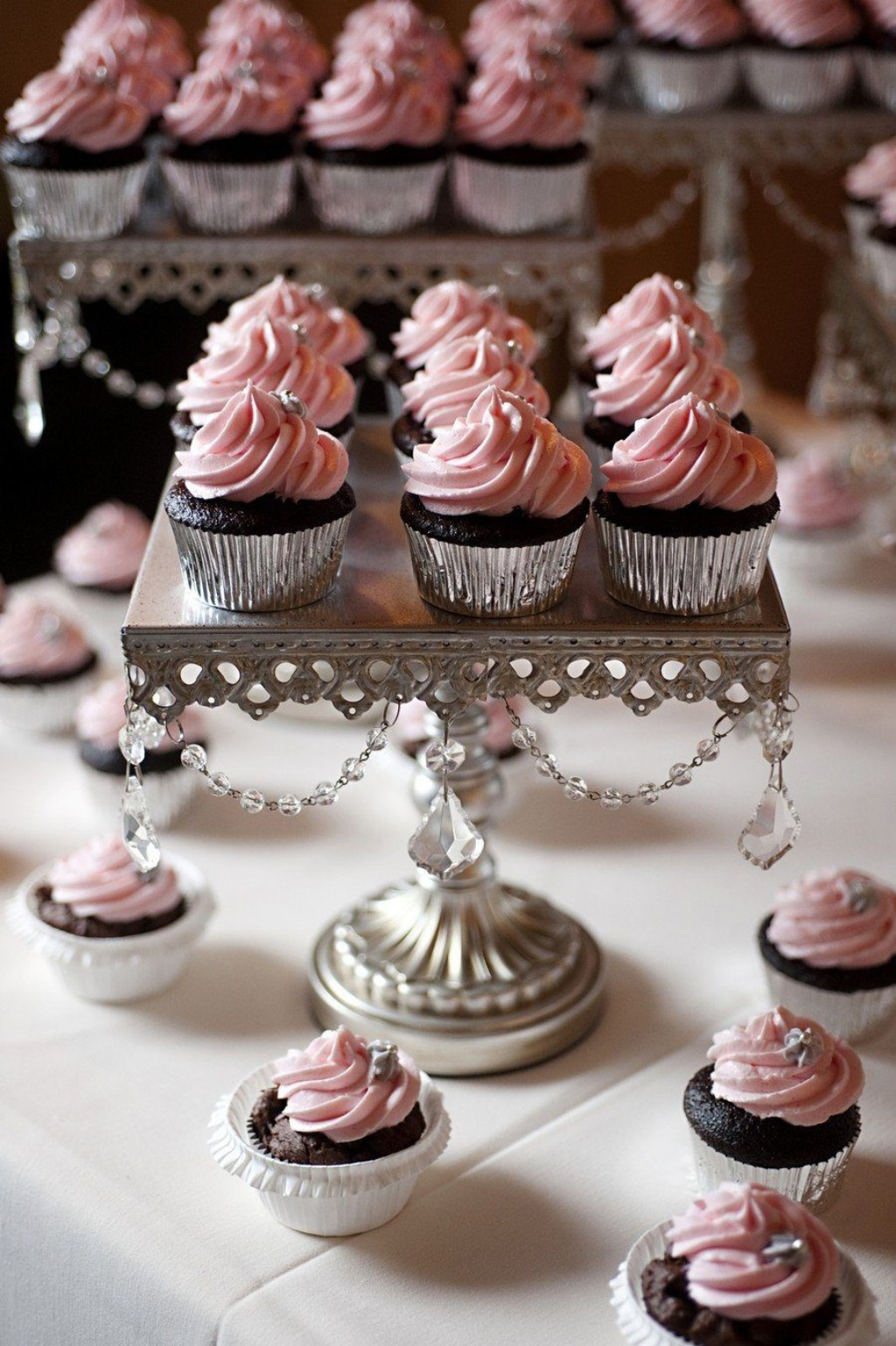 Chandelier Dessert Stands created by Opulent Treasures with LOVE! Cupcakes: Iced Cupcakery // Photo by Patti Miller Photography