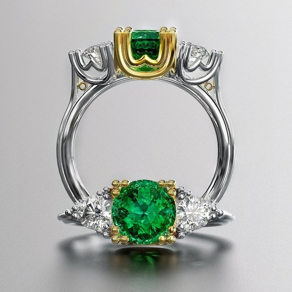 💚 So excited about our custom made recycled platinum and 18k gold Ethically Sourced Nova Era Emerald ring! 💌 me at hello