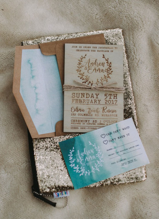 watercolor and wooden wedding invitations