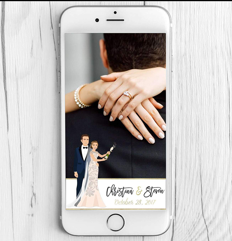 This custom illustrated wedding snapchat filter features illustrations of the couple popping champagne, and will be a HUGE hit at your