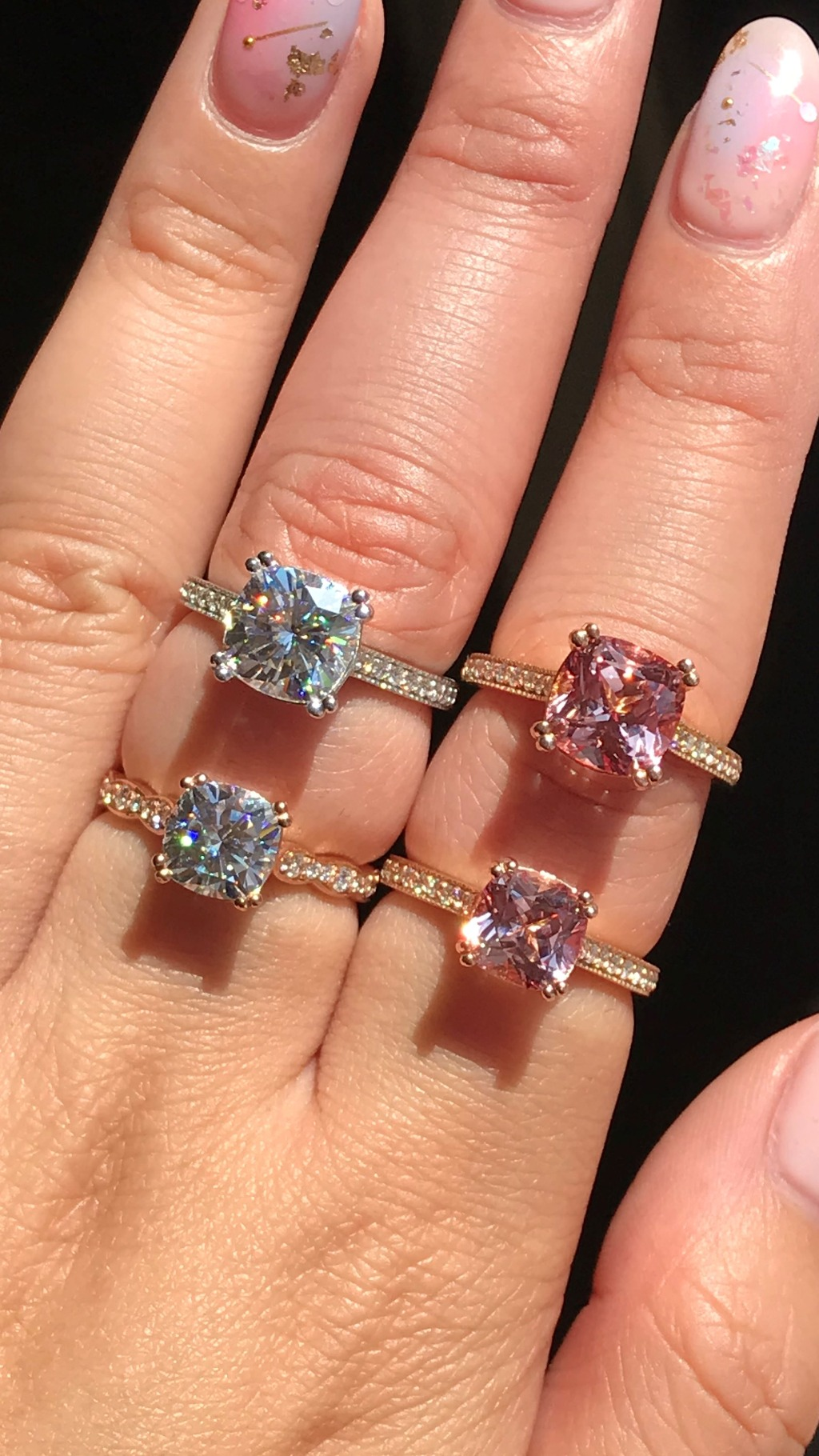Aren't these cushion cut solitaire just gorgeous? Here are some of our Cushion cut Engagement rings from our Grace Solitaire collection