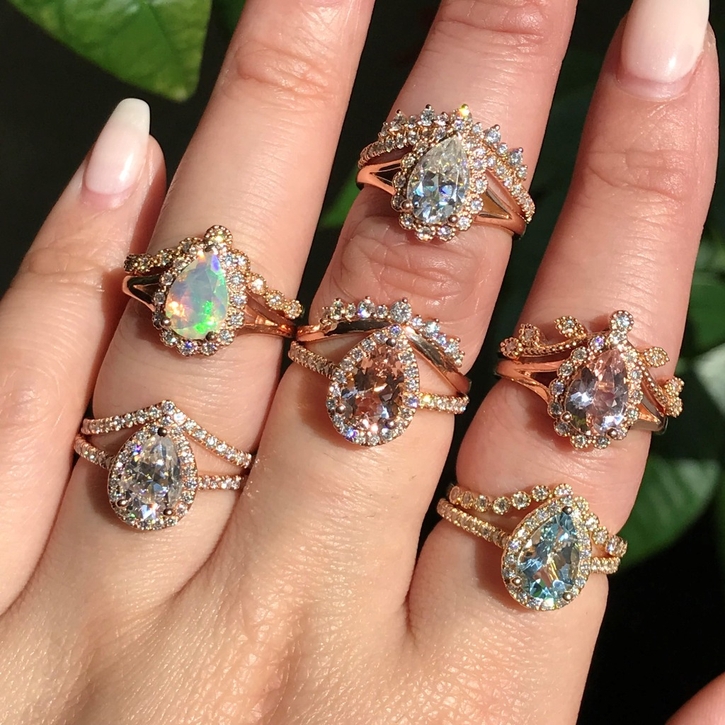 To stack up your pear cut engagement ring, here are some stacking ideas from us. Check out more of our wedding rings to stack on your