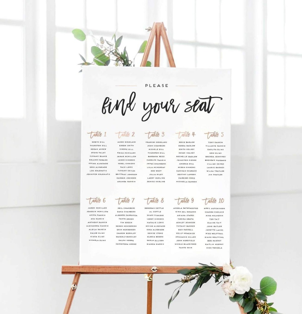 Our wedding seating chart goes beyond your average wedding sign. This work of art features brush script and rose gold accents, customized