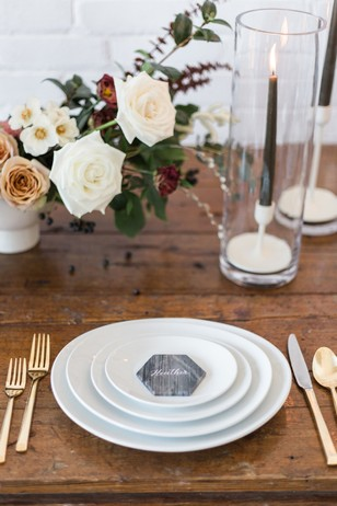 modern white and gold wedding place setting