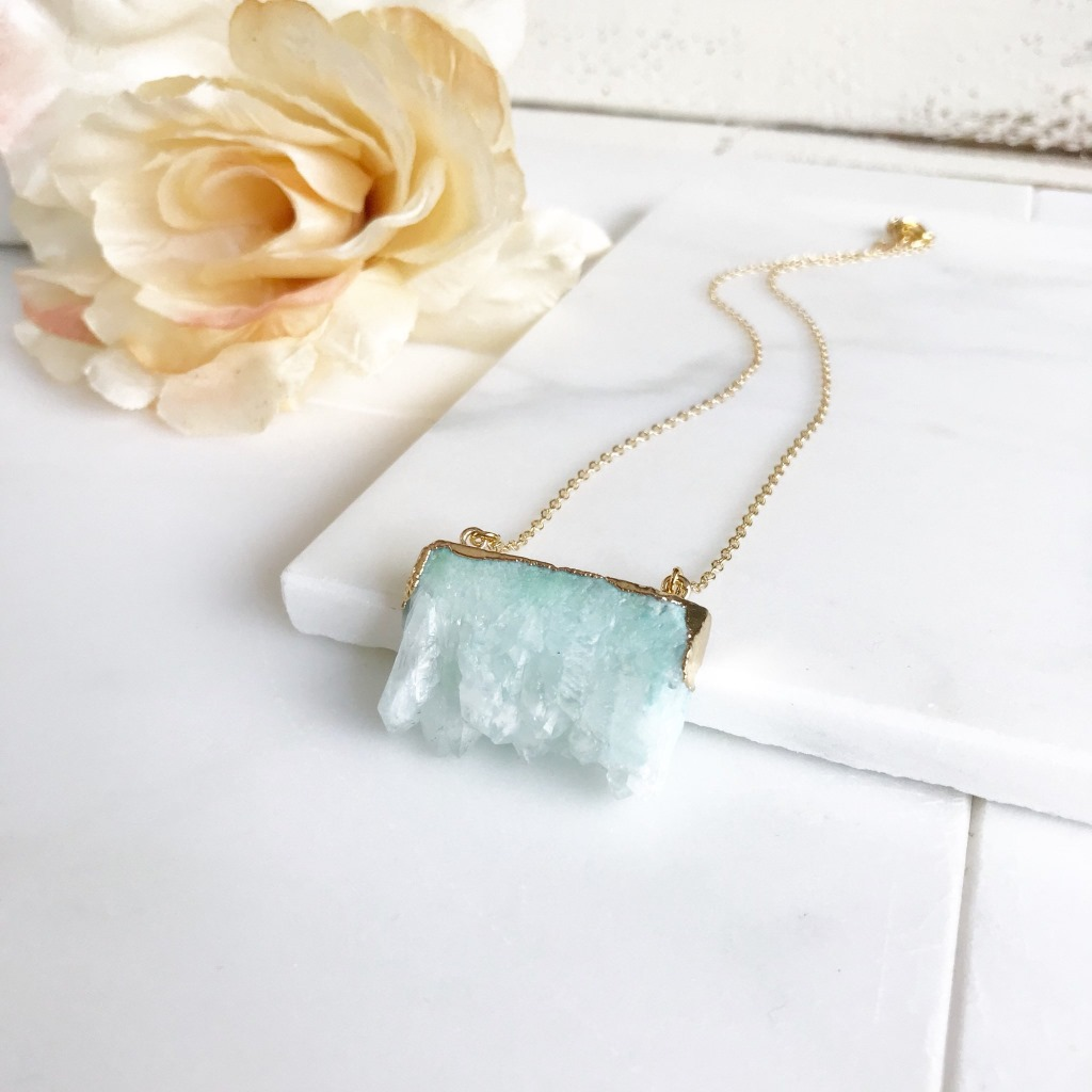 Seafoam Aqua Raw Geode Necklace. Perfect for a rustic wedding! On 14k gold filled chain.