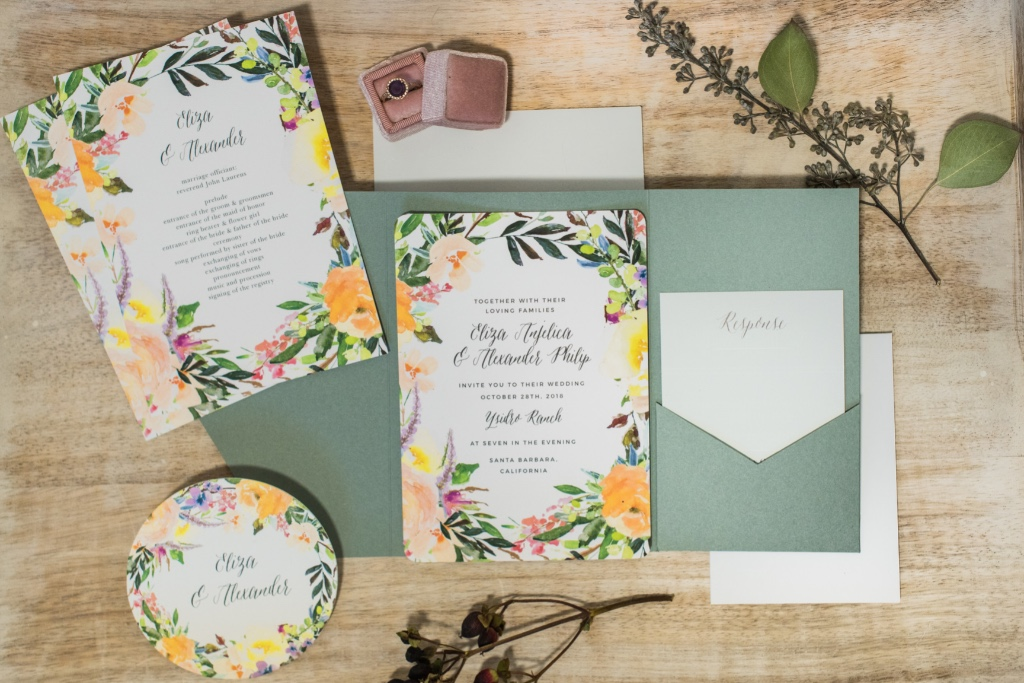 Matching custom coasters are a perfect way to tie in your Willow Wreath Wedding Invitation Suite!