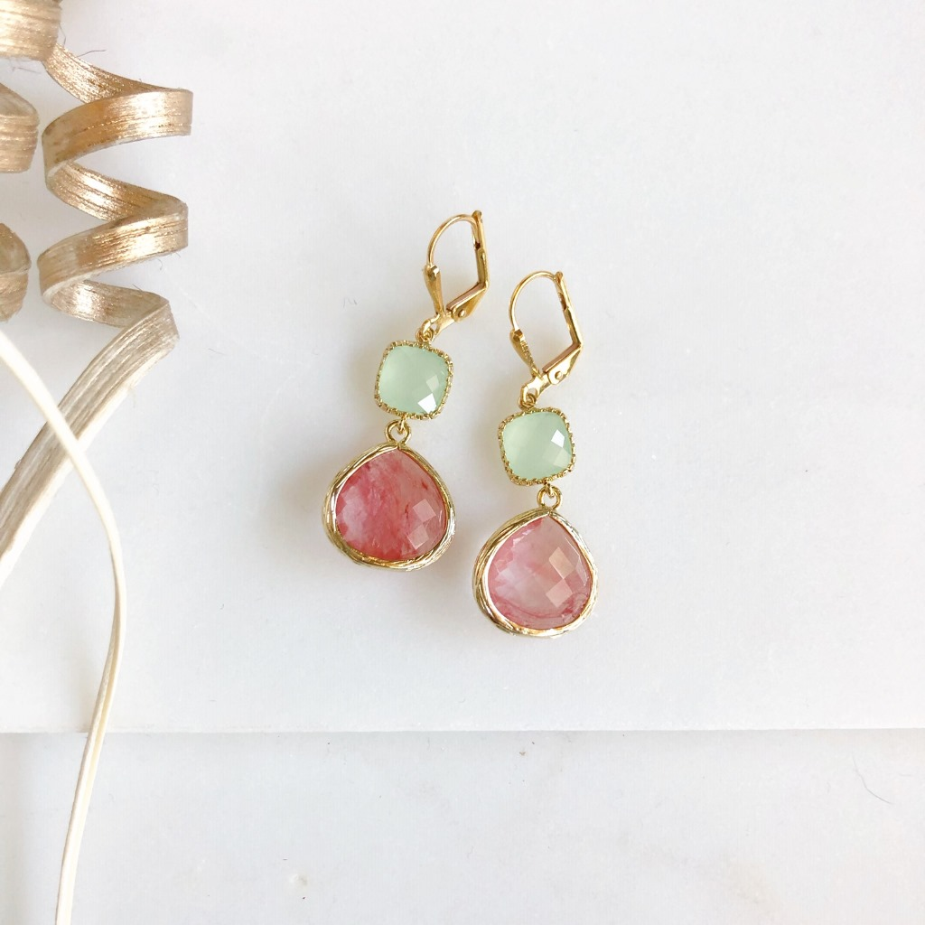 Sweet glass drop earrings in pink grapefruit and mint. Gold plated brass. Measures about 1.25