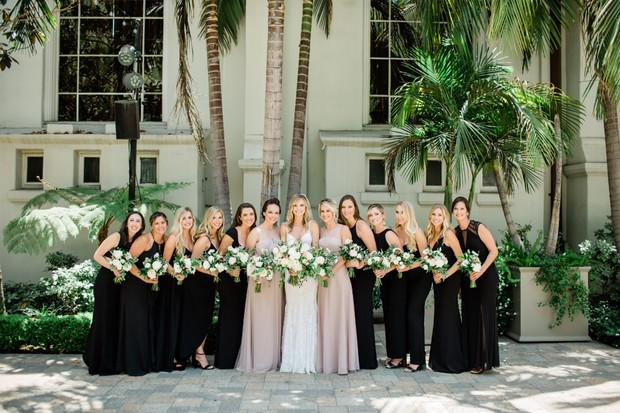bridesmaids in black and blush dresses