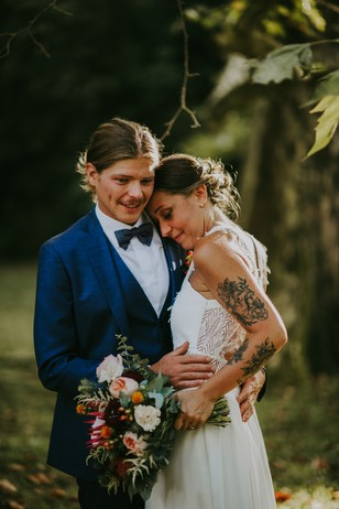 sweet wedding couple portrait
