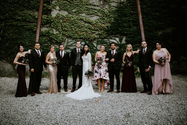 bridal party in mismatched attire