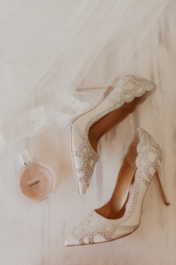 crystal embellished wedding heels