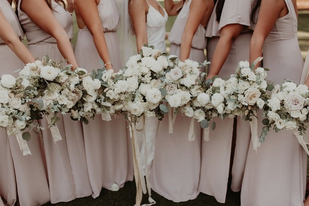 bridesmaid bouquet with white flowers