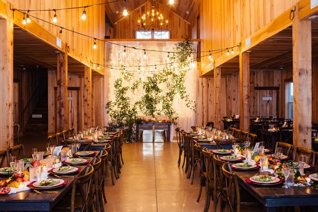 fall barn reception lighting