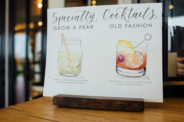 watercolor cocktail sign