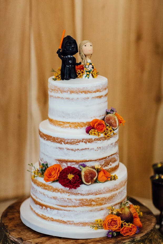 naked wedding cake with star wars topper
