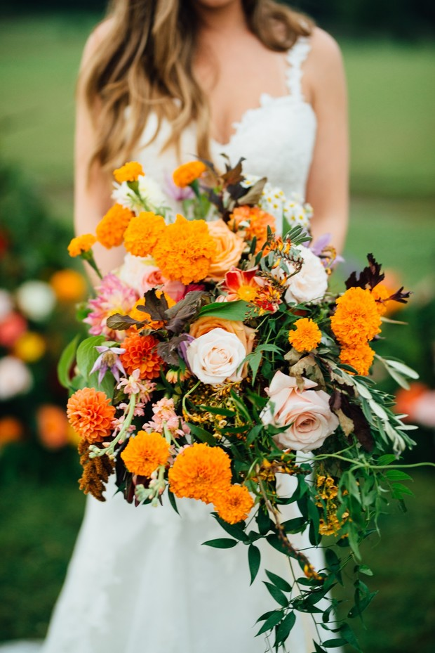 fall orange wedding bouquet