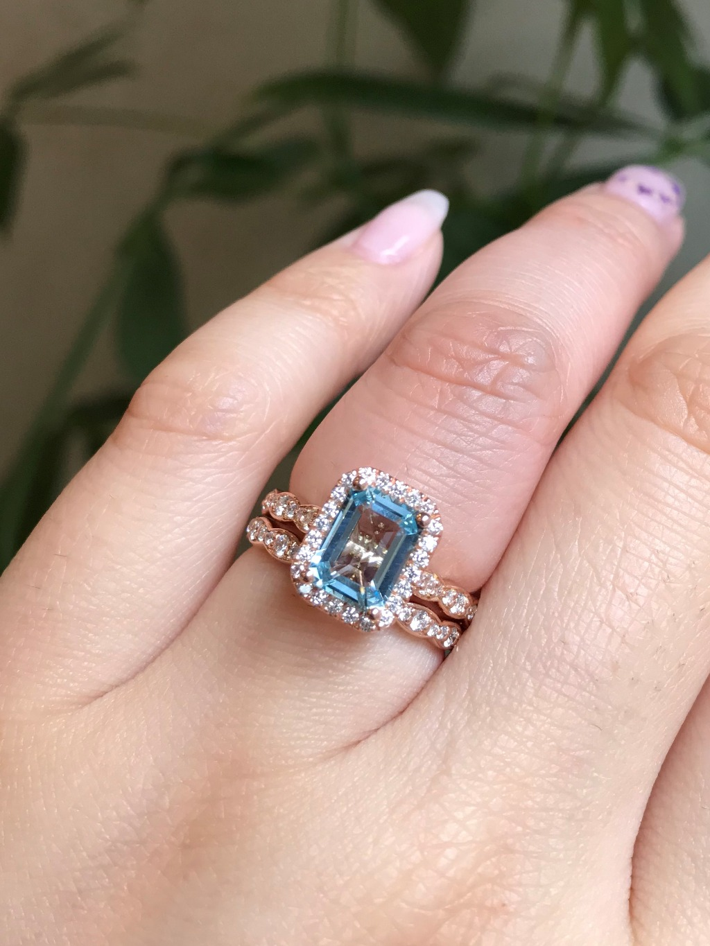 Brb, getting lost in the aqua blue beauty of this Aquamarine Emerald Cut Luna Halo Engagement Ring in Scalloped Diamond Band ~ See