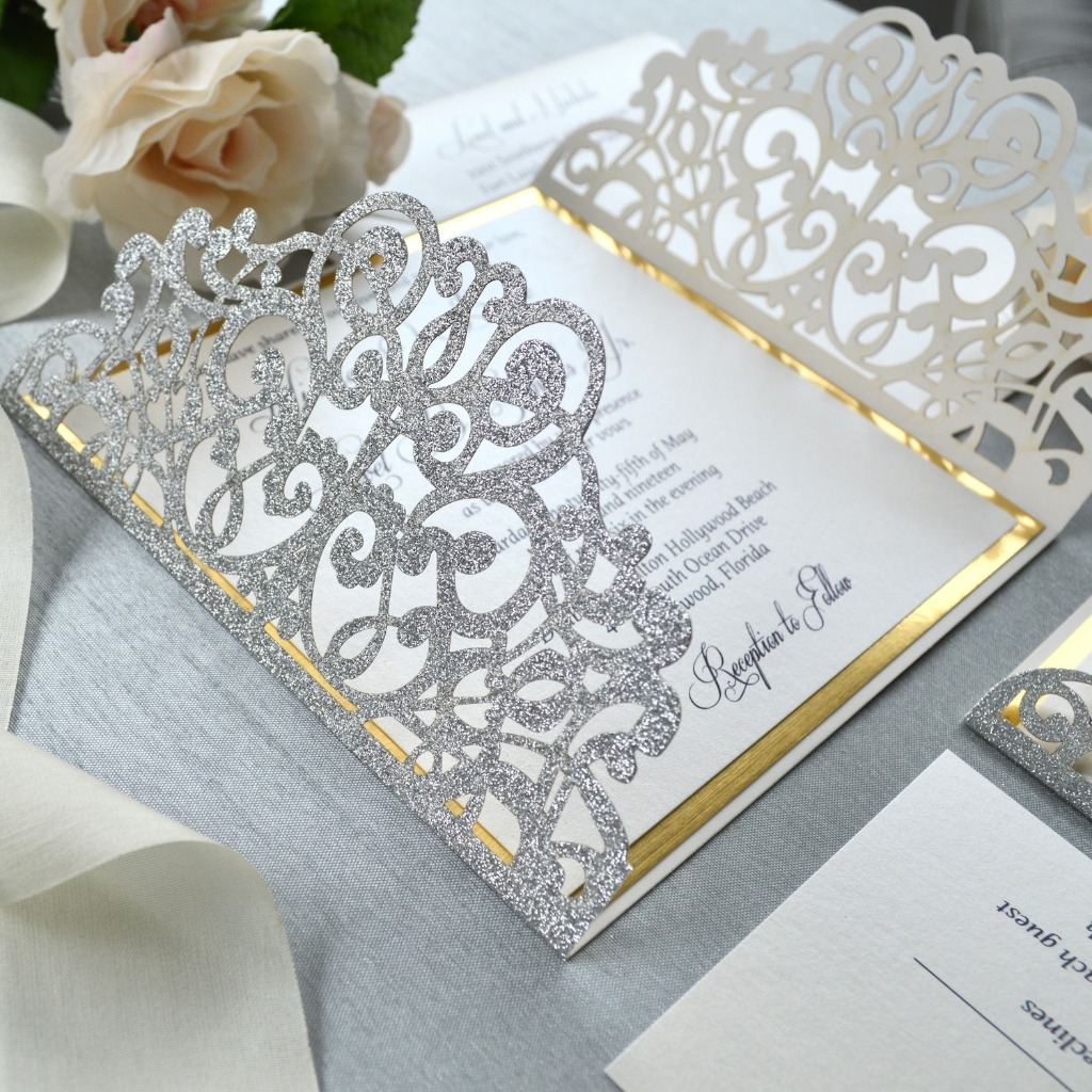 Glitz and Glam! Silver and gold laser cut invitations perfect for not just a wedding but what about a Sweet 16 or Quinceañera? �