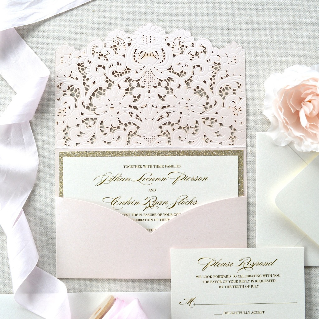 Cordially invite your guests with casual elegance with these contemporary cut, pocket invitation. They open like a book to reveal your