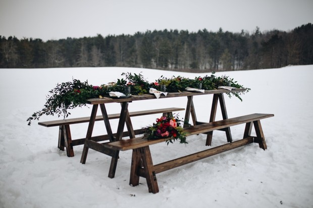 picnic table style wedding table