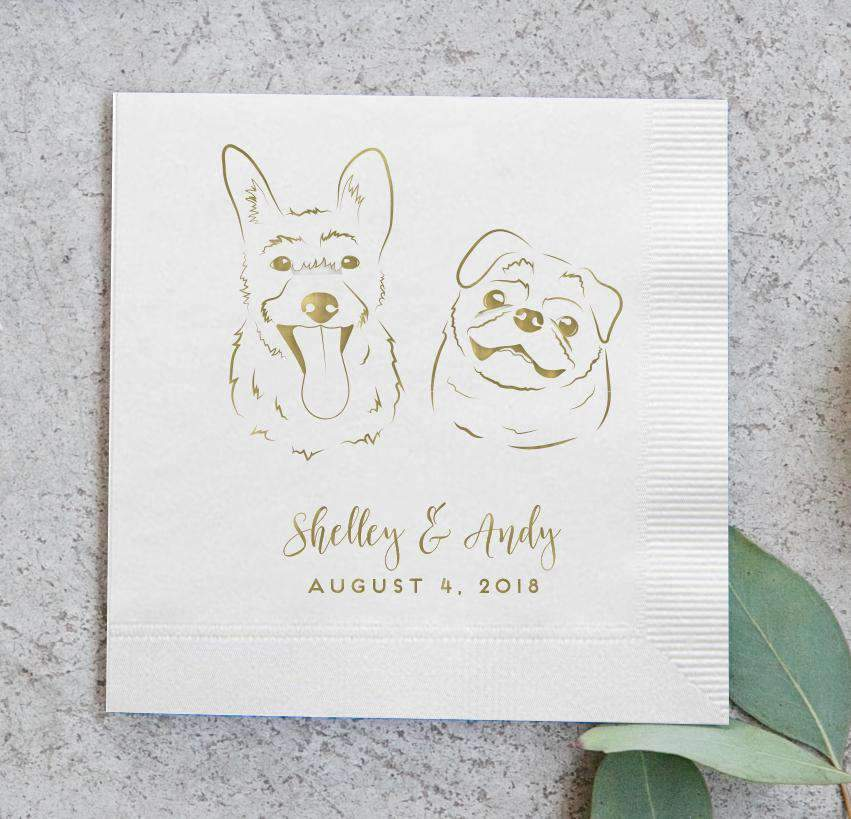Looking for ideas to include your pet in your wedding? Our foil printed pet portrait cocktail napkins are sure to be a huge hit at