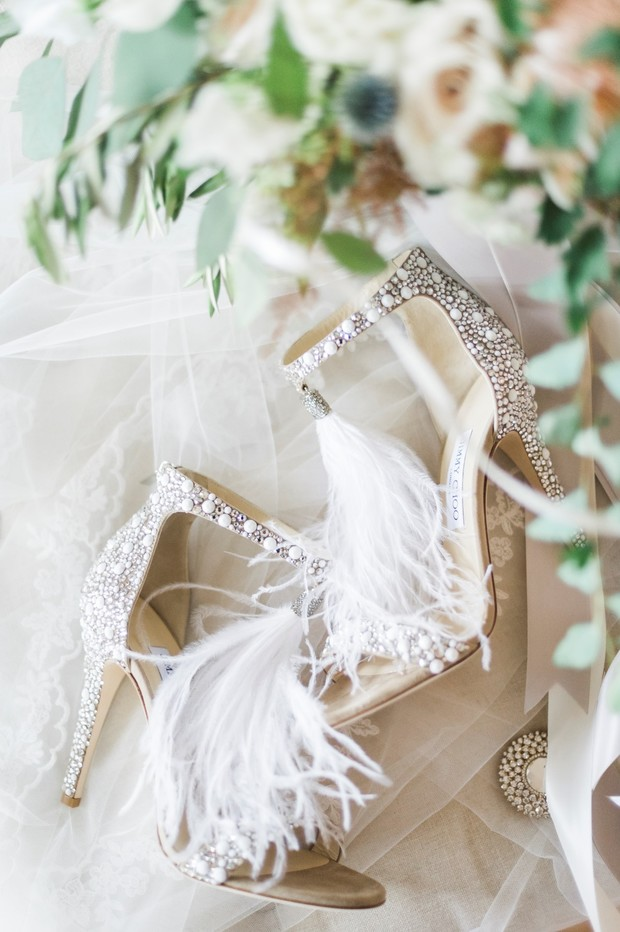 feathery embelished wedding heels from Jimmy Choo