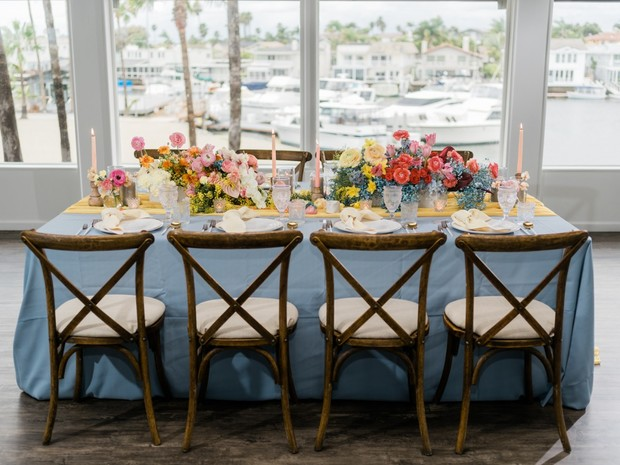 blue and yellow bridal shower table