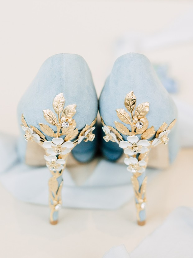 pastel blue wedding shoes and gold detail