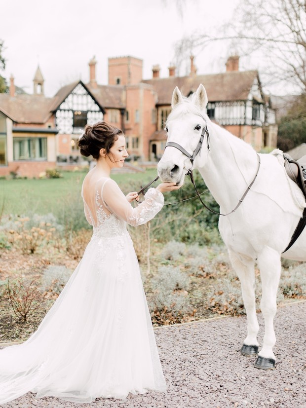 bride and her shining white wedding steed