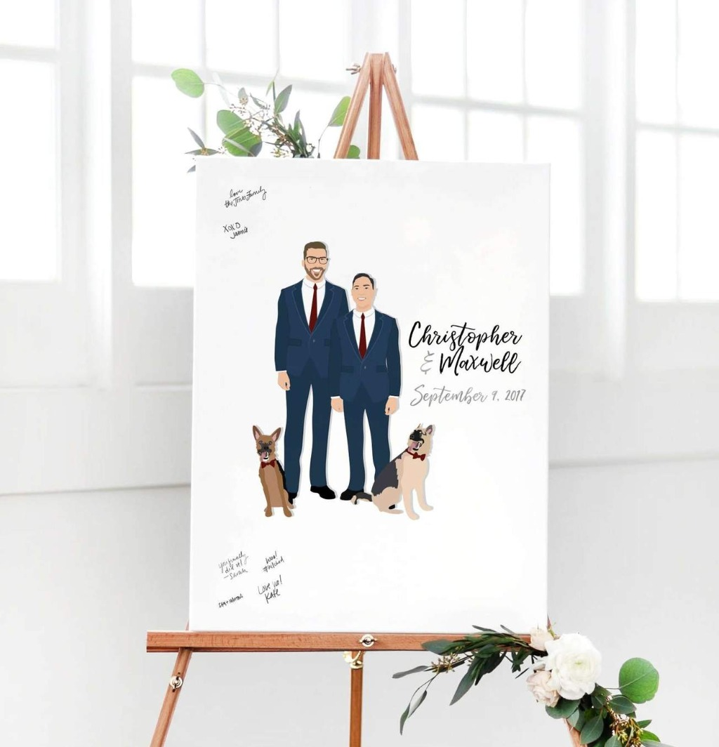 Our couple portrait wedding guest book alternative goes beyond the traditional guest book. This custom work of art features illustrations