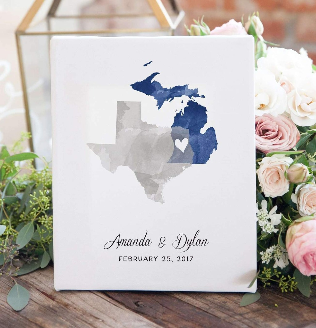 This watercolor states two state map print is the perfect wedding, anniversary, or housewarming gift, and is customized with the two