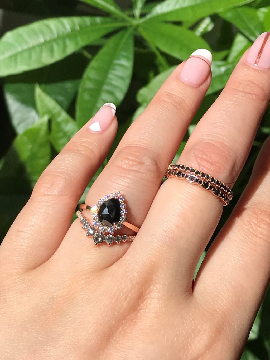 La More Design's 7 Stone Grey Diamond Wedding Band complements this Rose Cut Black Diamond Tiara Halo Engagement Ring perfectly! Check