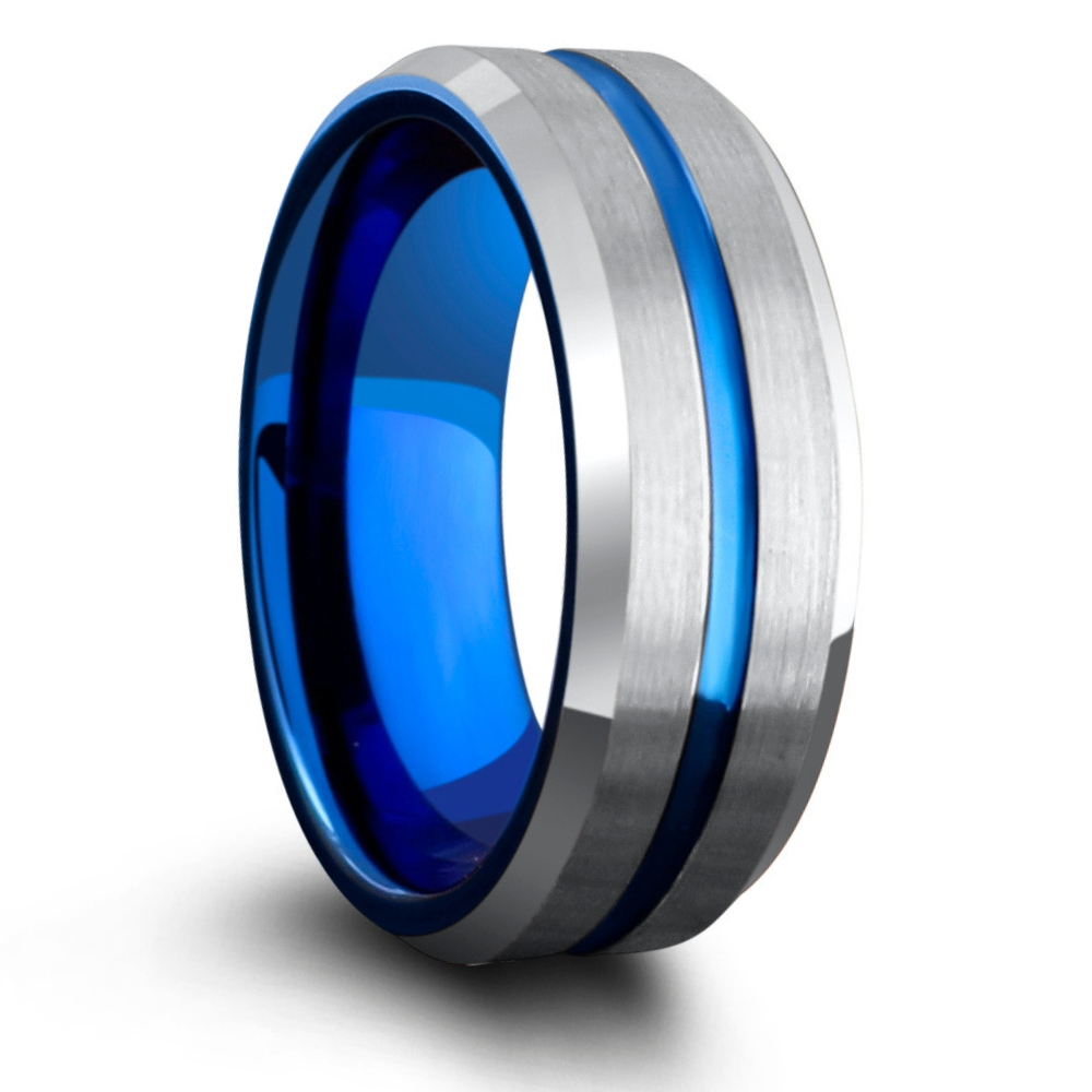 Mens blue and silver tungsten wedding band. We have so many more silver and blue tungsten wedding bands.