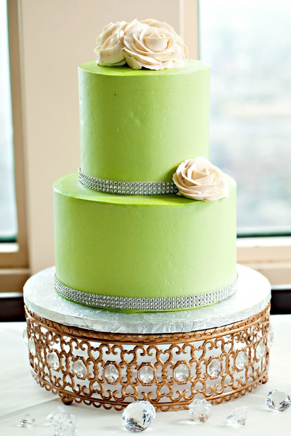 Romantic and elegant champagne and pear green tiered bridal shower cake on Opulent Treasures Moroccan jeweled cake stand in antique